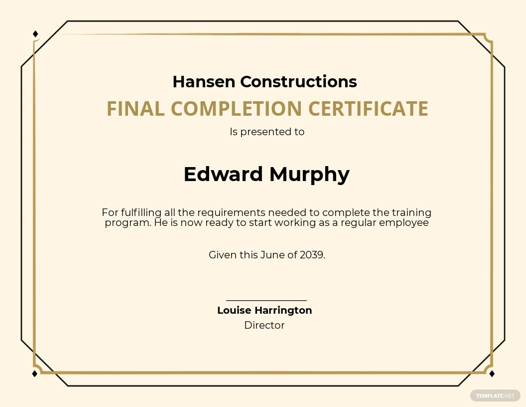 24 Free Construction Certificate Templates Customize for Printable Certificate Of Completion Template Construction