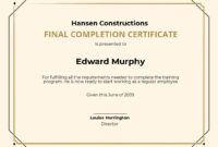 24 Free Construction Certificate Templates Customize pertaining to Amazing Certificate Of Construction Completion Template