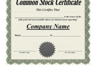 25 Stock Certificate Template Free Download with Free Corporate Share Certificate Template