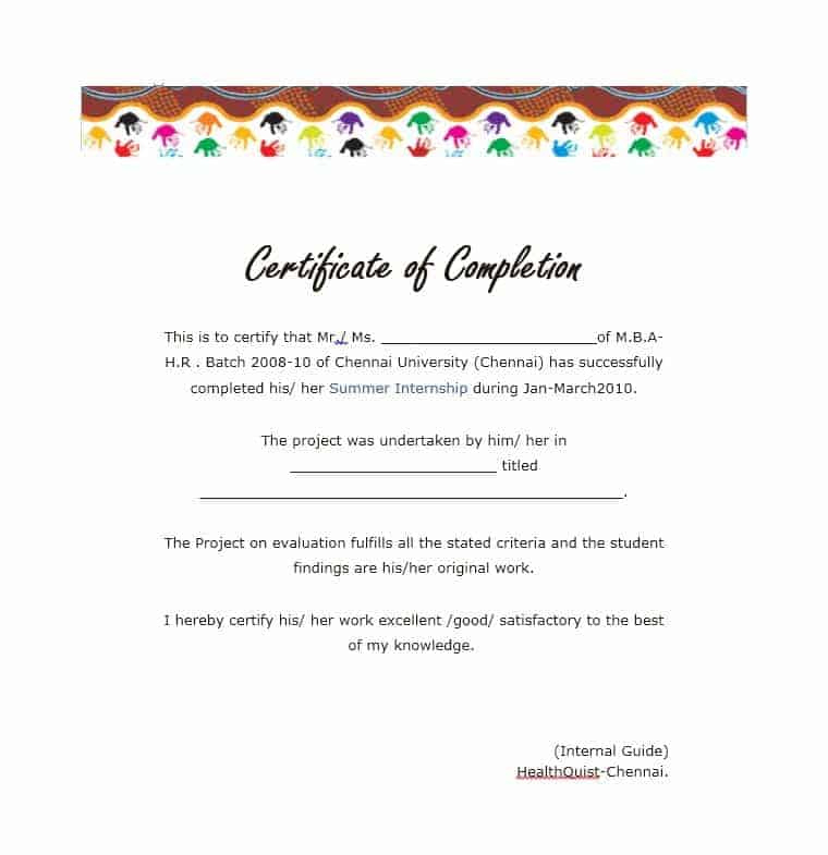 25 Work Completion Certificate Templates  Word Excel Samples for Quality Certification Of Completion Template