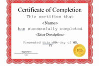25 Work Completion Certificate Templates  Word Excel Samples in Certificate Of Completion Template Word