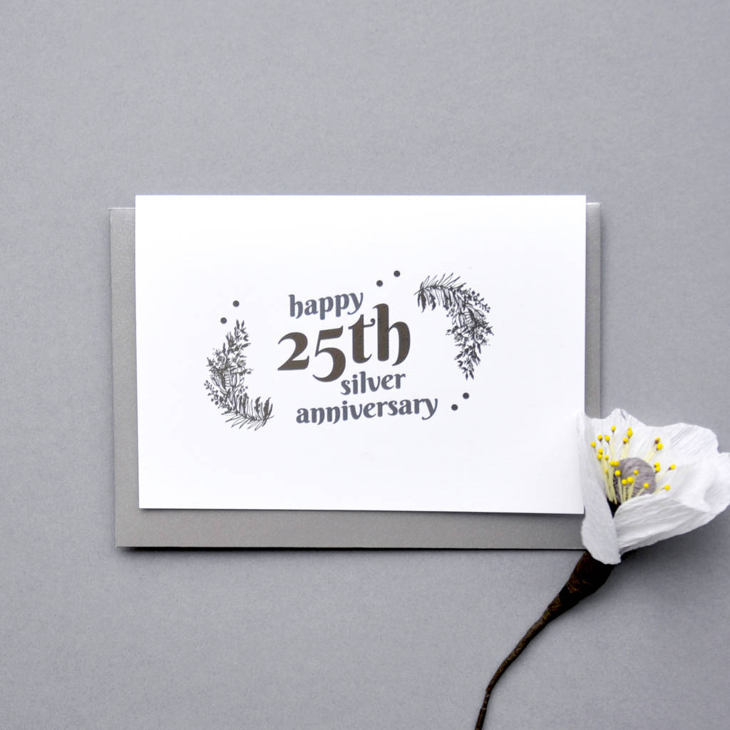 25Th Silver Wedding Anniversary Silver Foil Cardant intended for Printable Anniversary Gift Certificate