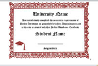 26 Free Perfect Attendance Certificate Templates in Perfect Attendance Certificate Template