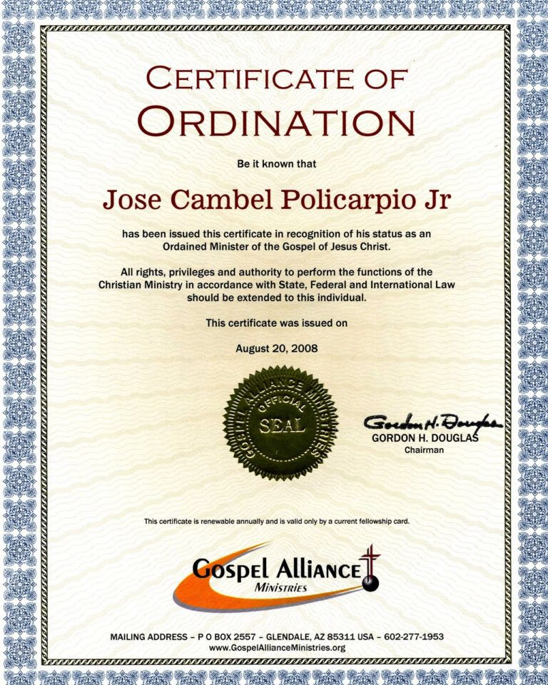 28  Certificate Of Ordination Template   Elder in Ordination Certificate Template