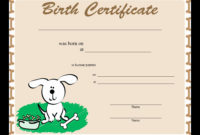 30 Free Printable Dog Birth Certificate In 2020 With intended for Printable Dog Birth Certificate Template Editable