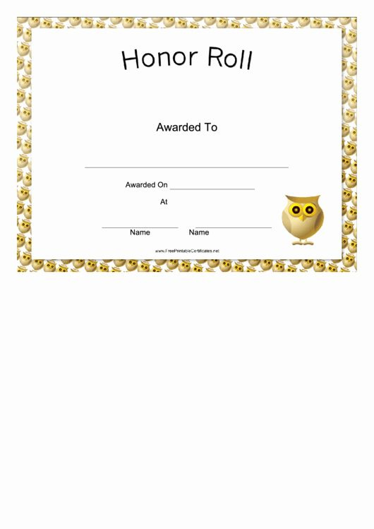30 Free Printable Honor Roll Certificates In 2020  Free in Donation Certificate Template Free 14 Awards
