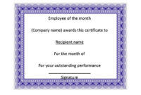 30 Printable Employee Of The Month Certificates pertaining to Best Employee Of The Month Certificate Templates