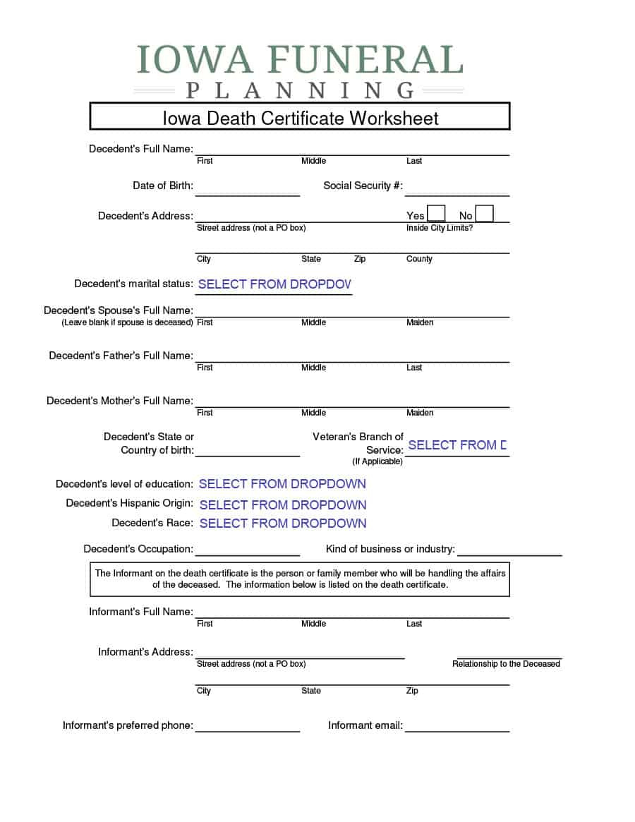 37 Blank Death Certificate Templates 100 Free ᐅ for Fake Death Certificate Template