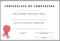 38 Completion Certificate Templates  Free Word Pdf Psd regarding Printable Certificate Of Completion Template Word