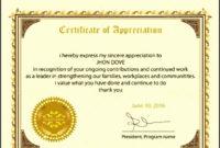4 Free Certificate Of Appreciation Template in Free Downloadable Certificate Of Recognition Templates
