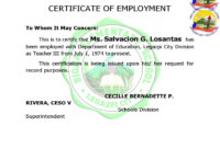 40 Best Certificate Of Employment Samples Free ᐅ Templatelab with regard to Certificate Of Employment Template