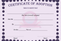 40 Real  Fake Adoption Certificate Templates  Printable regarding Kitten Birth Certificate Template