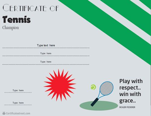 41 Best Sports Certificates  Awards Images On Pinterest in Tennis Participation Certificate