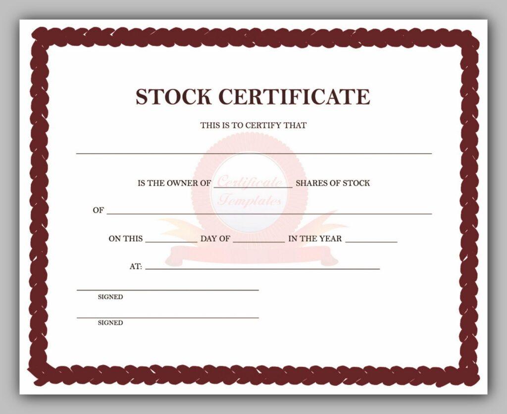 43 Free Share Certificate Template  Redlinesp inside Template Of Share Certificate