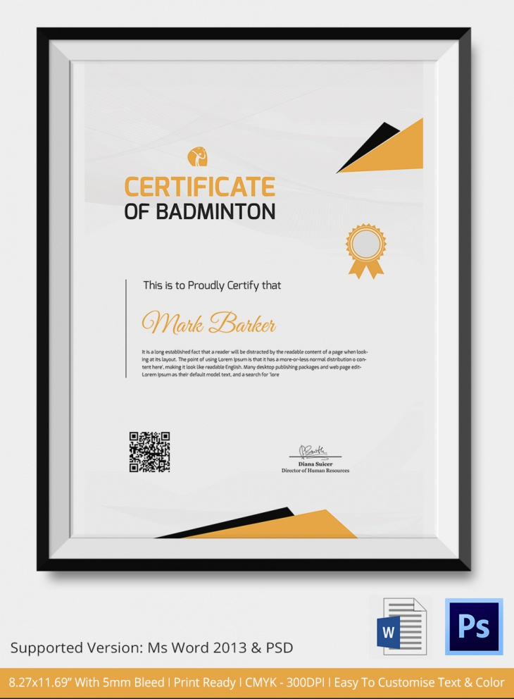 5 Badminton Certificates  Psd  Word Designs  Design with regard to Printable Boxing Certificate Template