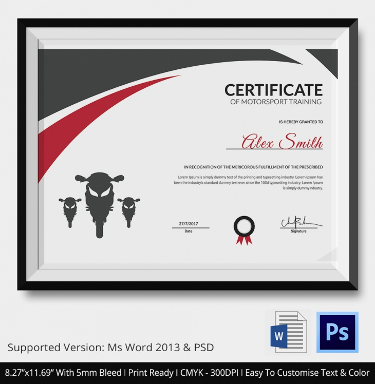 5 Motosport Certificates  Psd  Word Designs  Design intended for Printable Editable Running Certificate