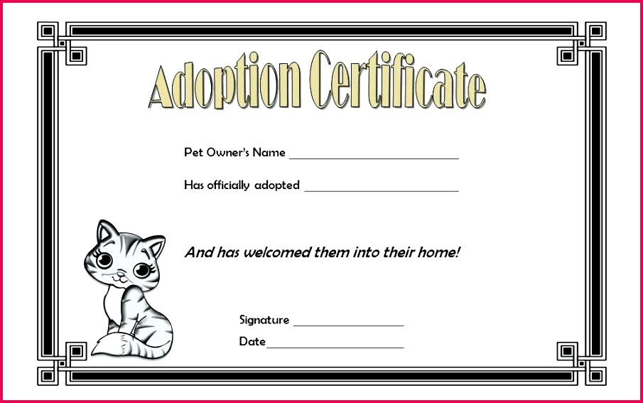 5 Toy Adoption Certificate Template 18769  Fabtemplatez in Free Kitten Birth Certificate Template