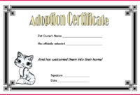 5 Toy Adoption Certificate Template 18769  Fabtemplatez pertaining to Awesome Cat Adoption Certificate Template