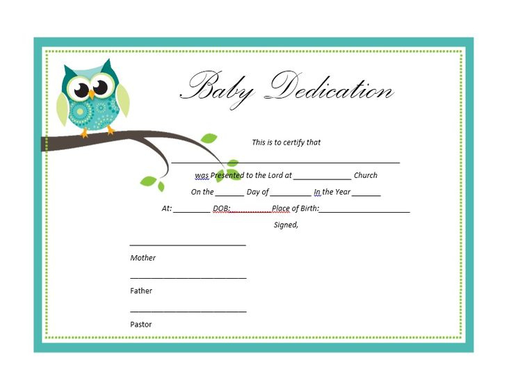 50 Free Baby Dedication Certificate Templates  Printable intended for Free Baby Dedication Certificate Templates