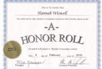 50 Free Printable Honor Roll Certificates  Ufreeonline for Honor Roll Certificate Template