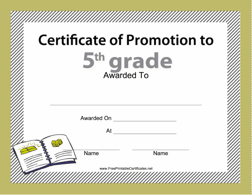 5Th Grade Promotion Certificate Printable Certificate for Grade Promotion Certificate Template Printable