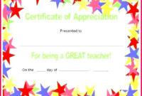 6 Certificate Of Teacher Appreciation Templates 31137 pertaining to Teacher Appreciation Certificate Templates