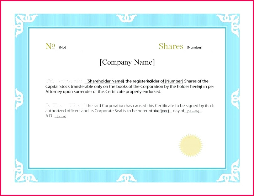 6 Share Certificate Template Doc 91391  Fabtemplatez pertaining to Awesome Shareholding Certificate Template
