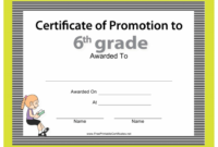 6Th Grade Certificate Of Promotion Template Download regarding Grade Promotion Certificate Template Printable