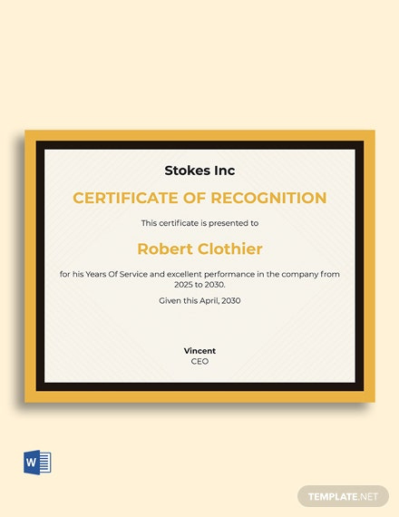 7 Free Service Certificate Templates  Microsoft Word throughout Long Service Award Certificate Templates