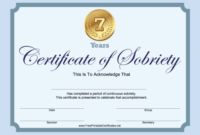 7 Years Sobriety Certificate Blue Printable Certificate with regard to Certificate Of Sobriety Template Free