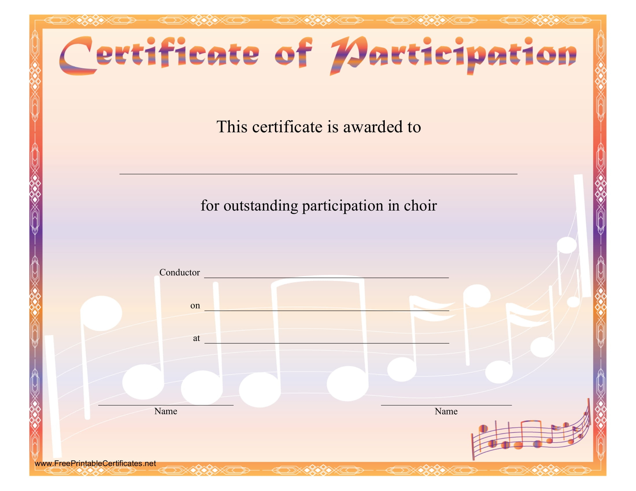 8 Free Choir Certificate Of Participation Templates  Pdf pertaining to Certificate Of Participation Template Doc 10 Ideas