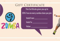 8 Zumba Gift Certificate Templates Free Samples And intended for Fitness Gift Certificate Template