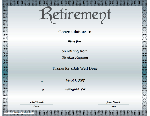 A Classy Bluegrey Certificate Of Retirement Offering with regard to Great Job Certificate Template Free 9 Design Awards