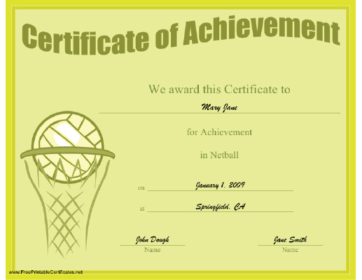 A Printable Certificate Of Achievement Honoring Excellence for Printable Netball Certificate