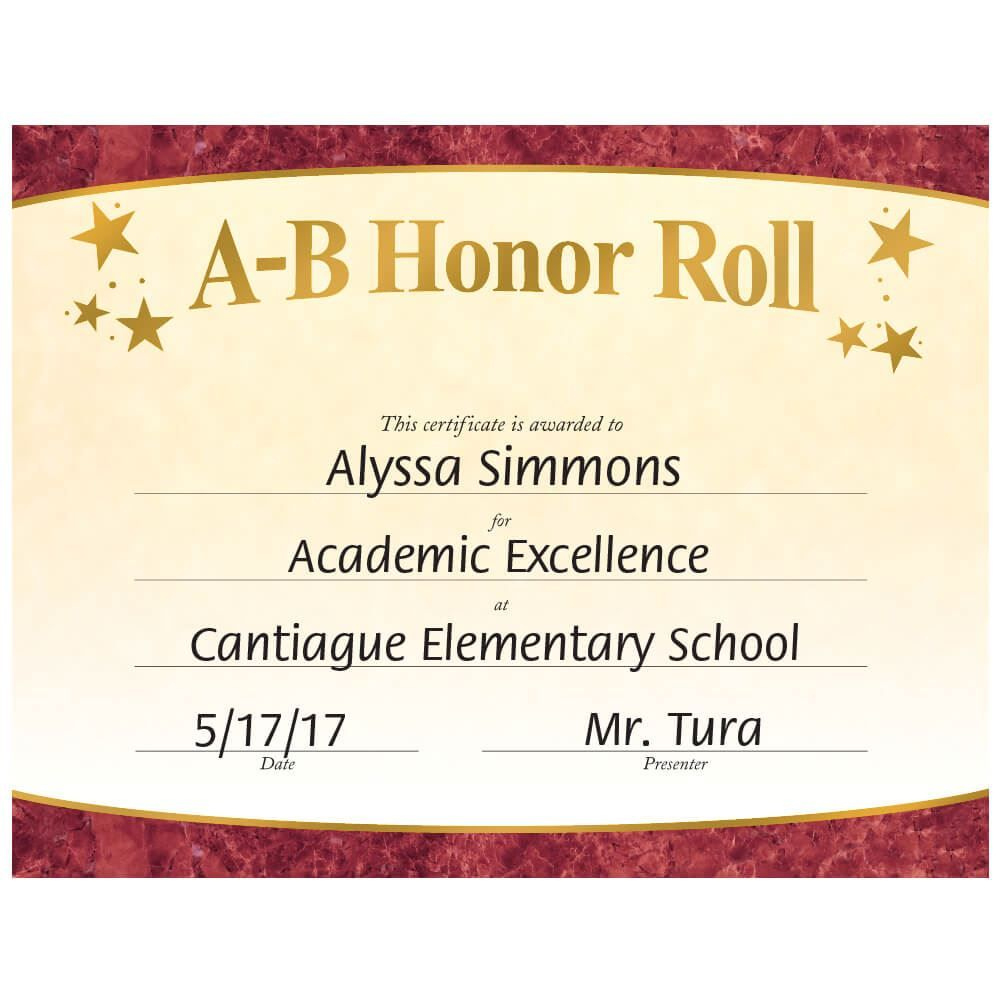 Ab Honor Roll Certificate Template  Zohre with Printable Honor Roll Certificate Template