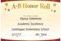 Ab Honor Roll Gold Foilstamped Certificates  Pack Of 25 regarding Printable Promotion Certificate Template