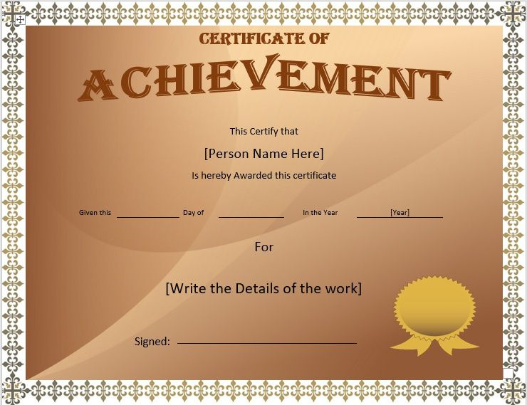 Achievement Certificate Templates  Stationery Templates with Word Certificate Of Achievement Template