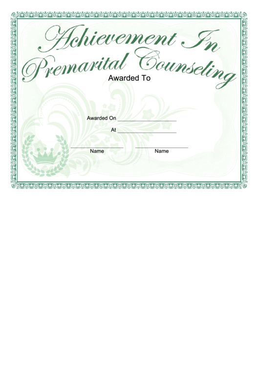 Achievement Of Premarital Counseling Certificate Printable throughout Premarital Counseling Certificate Of Completion Template