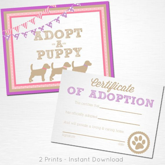 Adopt A Puppy And Certificate Of Adoption Pink And Purple with regard to Puppy Birth Certificate Free Printable 8 Ideas