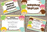 Adoptahedgehog Hedgie Adoption Certificate And Sign Set with Toy Adoption Certificate Template