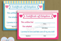 Adoption Certificate For Baby Doll Stuffed Animal Pet And More pertaining to Toy Adoption Certificate Template