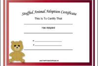 Adoption Certificate Stuffed Animal Bear Academic with Stuffed Animal Adoption Certificate Template Free