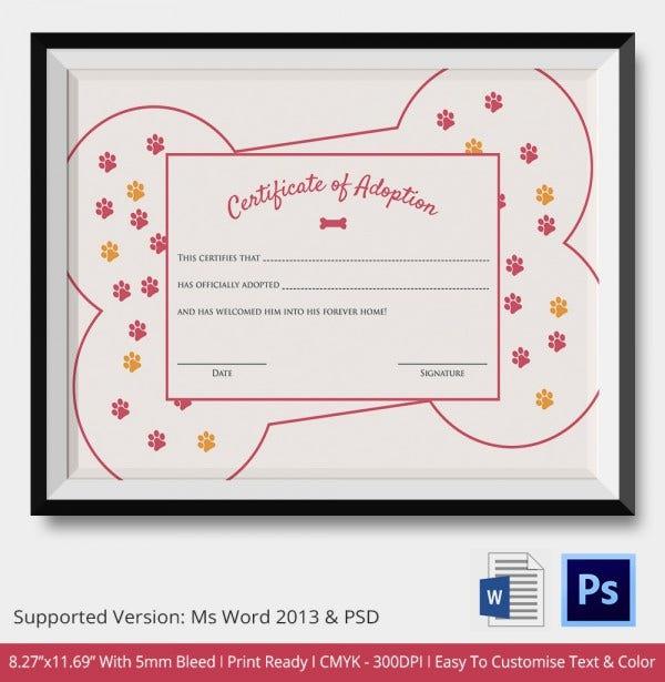 Adoption Certificate Template  12 Free Pdf Psd Format in Pet Adoption Certificate Editable Templates