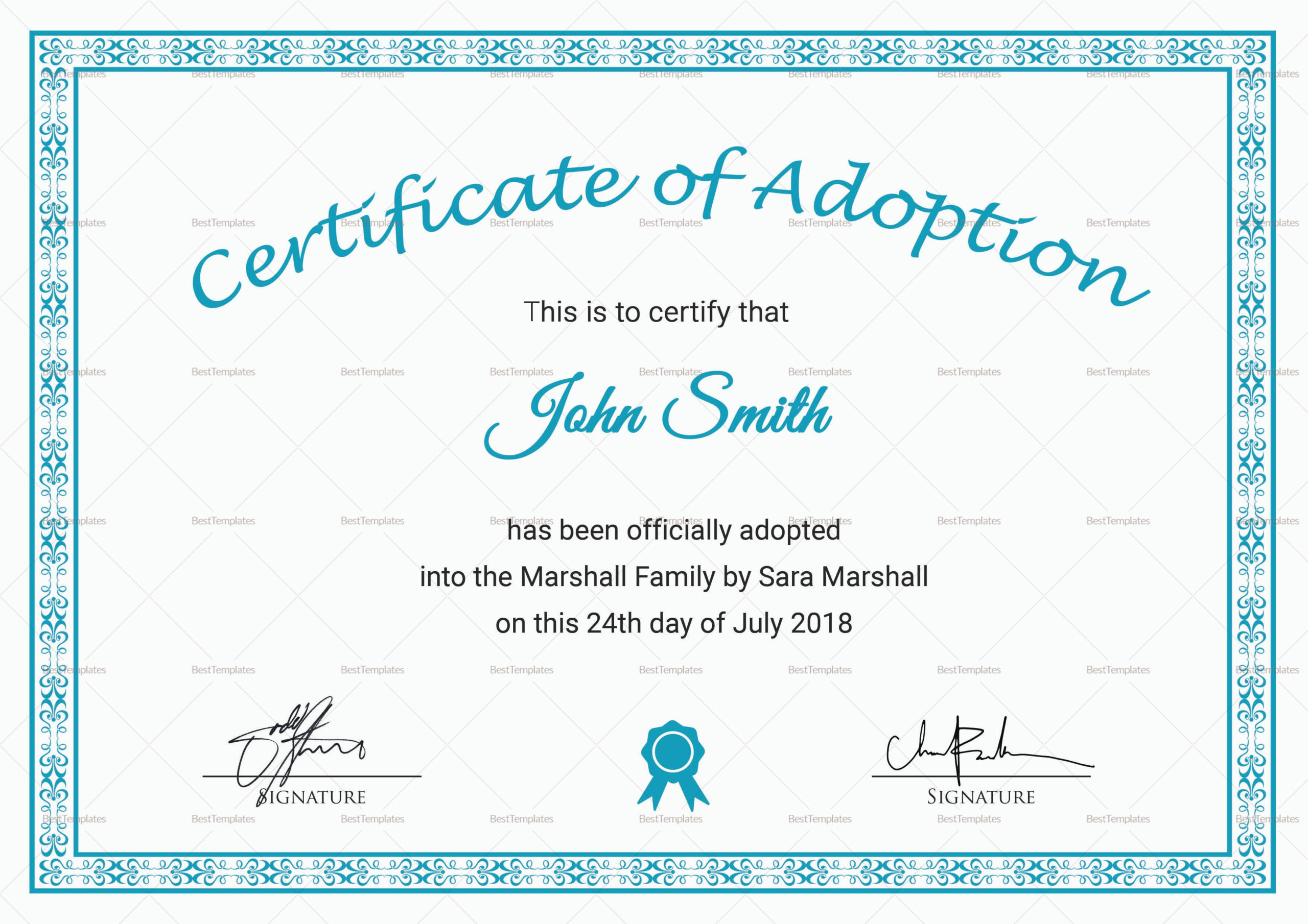Adoption Certificate Template 8 In 2020  Adoption for Best Pet Adoption Certificate Template