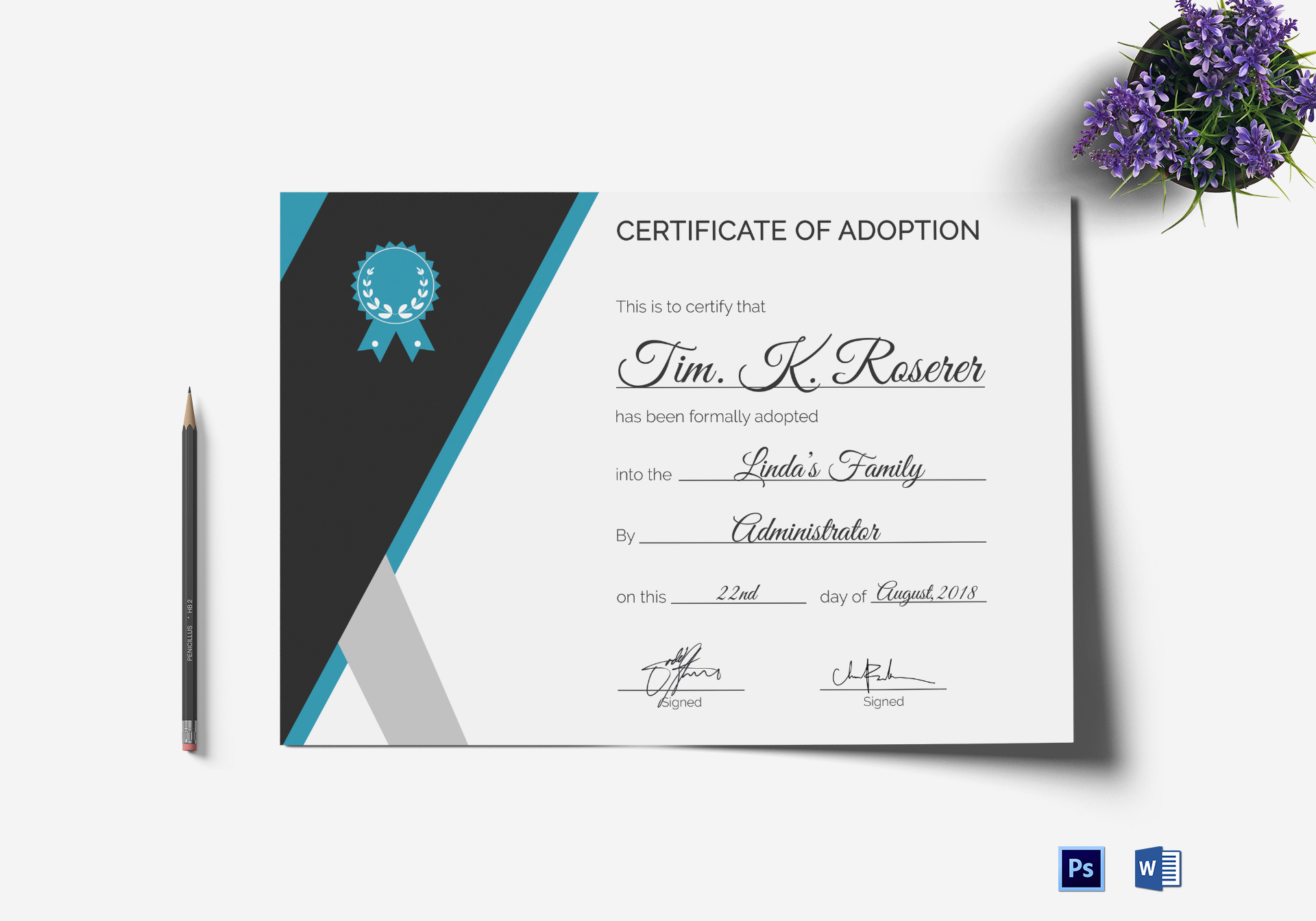 Adoption Certificate Template In Psd Word within Best Adoption Certificate Template