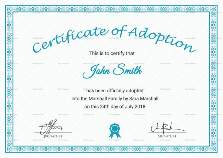 Adoption Certificate Template  Zohrehorizonconsultingco pertaining to Awesome Child Adoption Certificate Template Editable