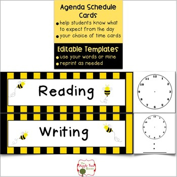 Agenda Schedule Cards Editable  Busy Bee Themethe throughout Level 10 Meeting Agenda Template