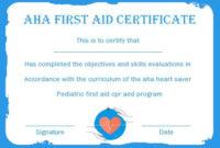 Aha First Aid Certificate  Certificate Templates for First Aid Certificate Template Free
