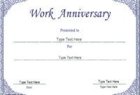 Anniversary Certificate Template Free In 2020  Work within Great Work Certificate Template