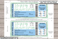 Anniversary Surprise Vacation Travel Ticket Template with Travel Gift Certificate Editable